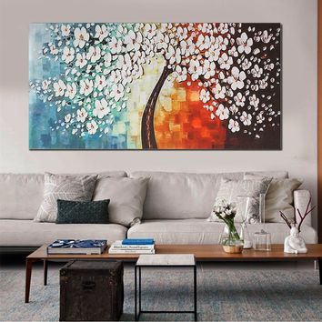 120x60cm White Plum Flower Unframe Canvas Print Modern Abstract Wall Art No Frame Oil Painting Picture Poster Home Decor Christm