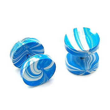 2 Fake Tunnel Plugs Ear Rings Airbrush to Screw 1/2' 12mm Turquoise White Marble Design