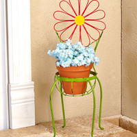 Red Metal Plant Stand Flower Chair - Herbs Flowers Outdoor Porch Patio Garden