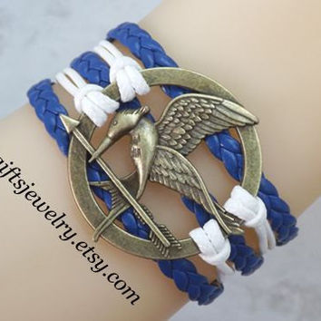Hunger inspired games jewelry,catching fire jewelry,Mockingjay pin bracelet,hipster jewelry,charm,couple jewelry,Navy Blue,White