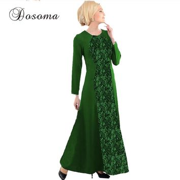 Muslim Abaya Lace Maxi Dress Women Indian Burka Patch Robe Kimono Vintage Vestido Kaftan Instant Hijab Arab Islamic Prayer