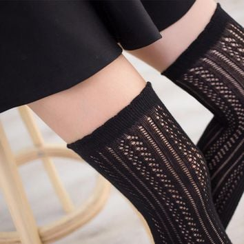 PEONFLY Japanese cotton knee long are hollow tube stockings Thigh High Thick fishnet stocking