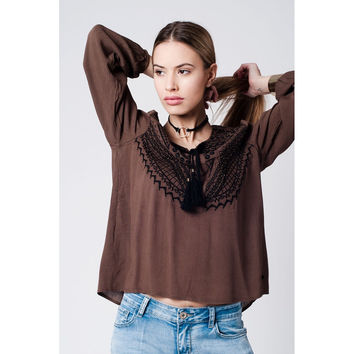 Tie Front brown Blouse with Embroidery