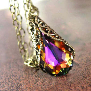 Amber Purple Necklace RARE Brandy Purple Crystal by DorotaJewelry
