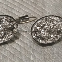 Druzy earrings-  Gunmetal drusy bronze tone dangle druzy earrings