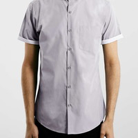 Light Grey Contrast Short Sleeve Smart Shirt - New This Week - New In