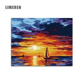 DIY Sunset Glow Sea Sailing Oil Pictures On Canvas Painting By Numbers Home Decor Abstract Coloring Seascape Wall Art