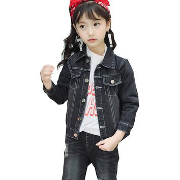 Trendy New 2018 Children Kids Girls Spring Clothing Black Long Sleeve Denim Jacket Coats For Girls Korean Cowboy Jackets Outerwear 5 AT_94_13