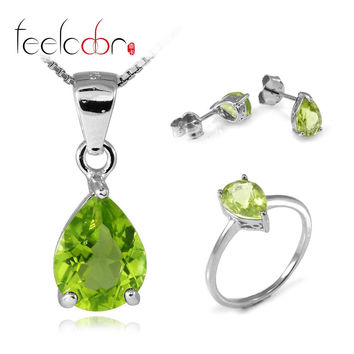 4.9 ct Natrual Peridot Ring Earring Pendant Necklace Jewelry Sets 925 Solid Sterling Silver Trillion Shape Gemstone Women Gift