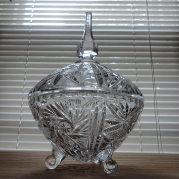 Vintage Lead Glass/Crystal Candy Dish with Lid