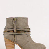 Women's Strappy Chain Round Toe Cowboy Ankle Bootie