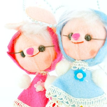 Japanese Christmas Ornaments Blue & Pink Mice with Glasses
