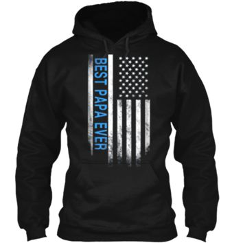 Best Papa Ever American Flag USA Flag Gift for Best Pullover Hoodie 8 oz