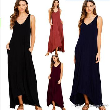 Fashion Mother and Daughter clothes Tank Dresses Women Beach Dress with Big neck High-low Hems Solid Pocket Long style Free DHL