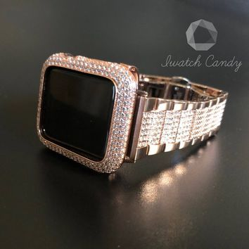 Series 4 Rose Gold Apple Watch  Womens Mens 38mm/40mm 42mm/44mm Series 1 2 3 4/Iced Out Bezel Case Cover Lab Diamonds Rhinestone Crystal CZ'