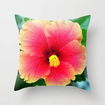 Yellow Pink Hibiscus - Throw Pillow Cover, Beach Tropical Bohemian Hippie Chic Surf Accent Pillow. Available in 16x16 / 18x18 / 20x20 Inches