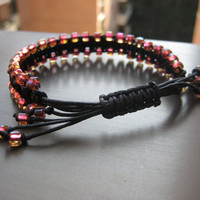 Black Macramé Bracelet with a Touch of Red