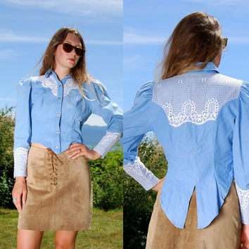 80's Denim + Lace Western Shirt By BANJO Medium Baby Blue Cropped Cotton Blouse Tailored Fish Tail Peplum Top, Long Puff Sleeve Button Up