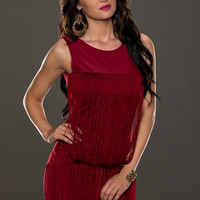 Red Sleeveless Fringe Mini Dress with Back Cut-Out