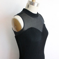 Vintage 80s Sexy Black Sweetheart Mesh Fitted Turtleneck Cocktail Dress Small