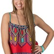 Flying Tomato® Women's Red with Multicolor Aztec Print Sleeveless Crop Top