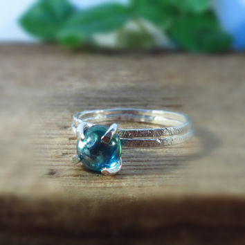 Claw Ring Sterling Silver with Rainbow Topaz Set of 2