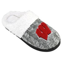 Wisconsin Badgers Letter Slippers - Women's (Grey)