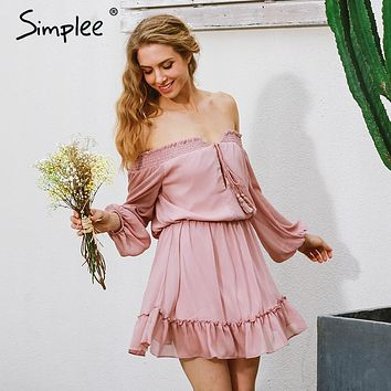 Simplee Short chiffon vintage dress women Off shoulder long sleeve beach summer dress Ruffle sexy dress