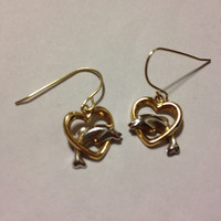 14K Dolphin Earrings Hearts White Yellow Gold Vintage Dangle Charms YG WG Estate Stamped Jewelry Bridal Gift Women Girl Valentines Mothers