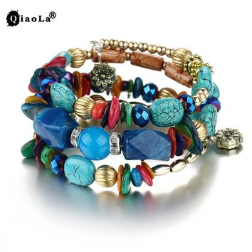 Handmade Multi-layer Adjustable Metal Bead Bracelet