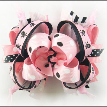 Boutique hair bow, Punk hair bow, Big hair bow, Over the top bow, Boutique stacked bow, Pageant bow, Pink and Black bow, Hair bows for girls