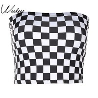Weekeep Women Black And White Plaid Sexy Strapless Tube Top 2017 Fashion Checkboard Cropped Bandeau Tops Underwear Bras
