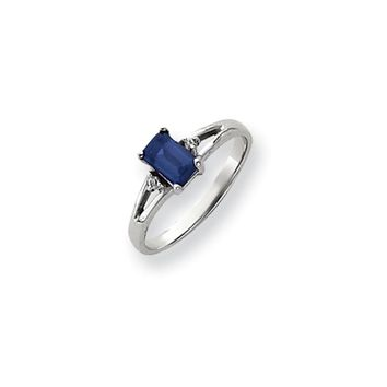 0.024 Ct  14k White Gold 6x4mm Emerald Cut Sapphire Diamond Ring I1 Clarity and G/I Color