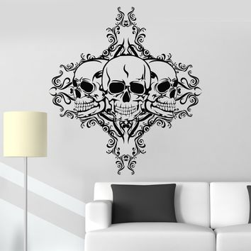 Vinyl Wall Decal Skulls Dead Patterns Horror Room Stickers Mural Unique Gift (011ig)