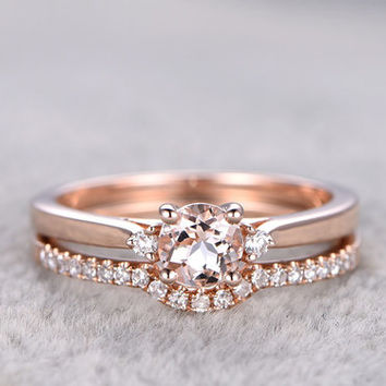 Morganite Rose Gold Wedding Set Diamond Curved Eternity Ring 0.5 Carat Round Thin Pave Stacking Band 14k/18k