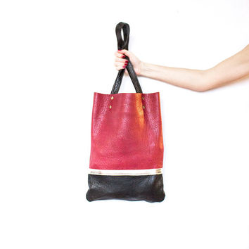 Red Leather Shopper // Gold Brown Tote // Hobo Bag // Purse // Laptop Bag // Valentine Day's Gift