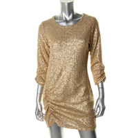Heartloom Womens Sequined Ruched Clubwear Dress