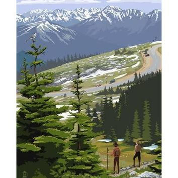 Glacier National Park - Going to the Sun Road and Hikers Art Print by Lantern Press at Art.com