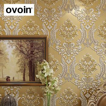 Modern Classic Luxury 3D Embossed Floral Damask Wallpaper Flocked non-woven Wall Paper for Bedroom Living Room & TV background