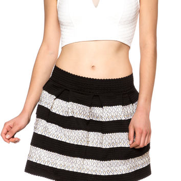 Metalic Contrast Skater High Waist Flared Mini Skirt