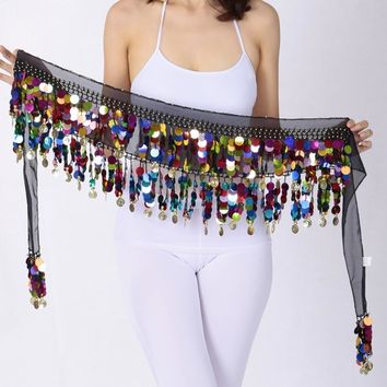 Women Belly Dance Scarf Performance Bling Colorful Sequins Coins Hip Scarfs Chiffon Belly Dance Belt