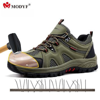 modyf men fall winter steel toe cap work safety shoes casual breathable outdoor boots  number 1