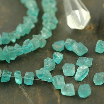 "Rough Seas: Apatite Rough Nugget Beads / 10 beads, 1 3/4"", 6x4mm / Ocean Blue Natural Gemstone / Organic, Earthy Jewelry Making Supplies"