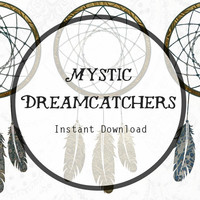 Mystic Dreamcatchers Art Instant Digital Download for Scrapbooking, Journaling, and more! Dreamcatcher Download, Dreamcatcher Clipart.