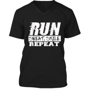 Running Shirt Fitness Motivation Run Sweat Smile Repeat Mens Printed V-Neck T