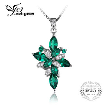 JewelryPalace 2.44ct Gem Cross Created Emerald Pendant Genuine 925 Solid Sterling Silver Jewelry Not Include Chain