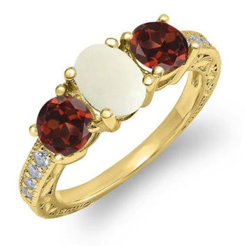 1.85 Ct Oval White Simulated Opal Red Garnet 18K Yellow Gold Plated Silver Ring