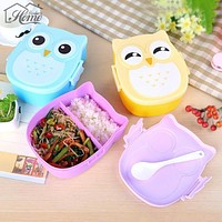 Portable Cartoon Owl Lunch Boxs Food Fruit Storage Container Bento Box Safe Food Picnic Container Hot Lunchbox Children Gift