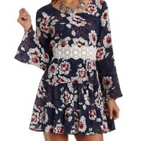 Navy Combo Crochet-Waist Floral Skater Dress by Charlotte Russe