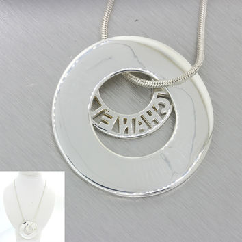 "Chanel Modern Designer 925 Solid Silver Double Circle Pendant 18"" Necklace 46.7g"